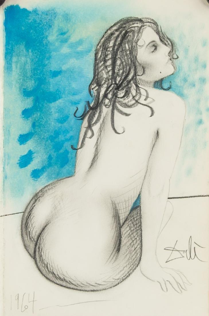 SALVADOR DALI Spanish 1904-1989 Mixed Media Nude