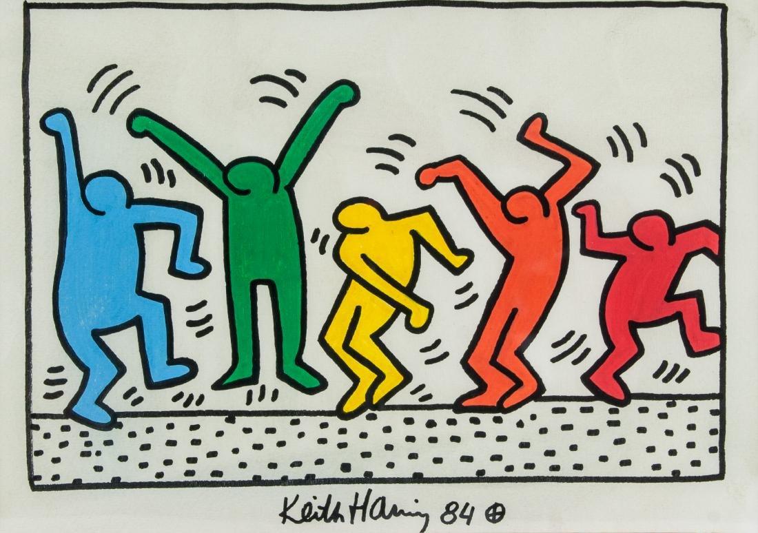KEITH HARING American 1958-1990 Mixed Media