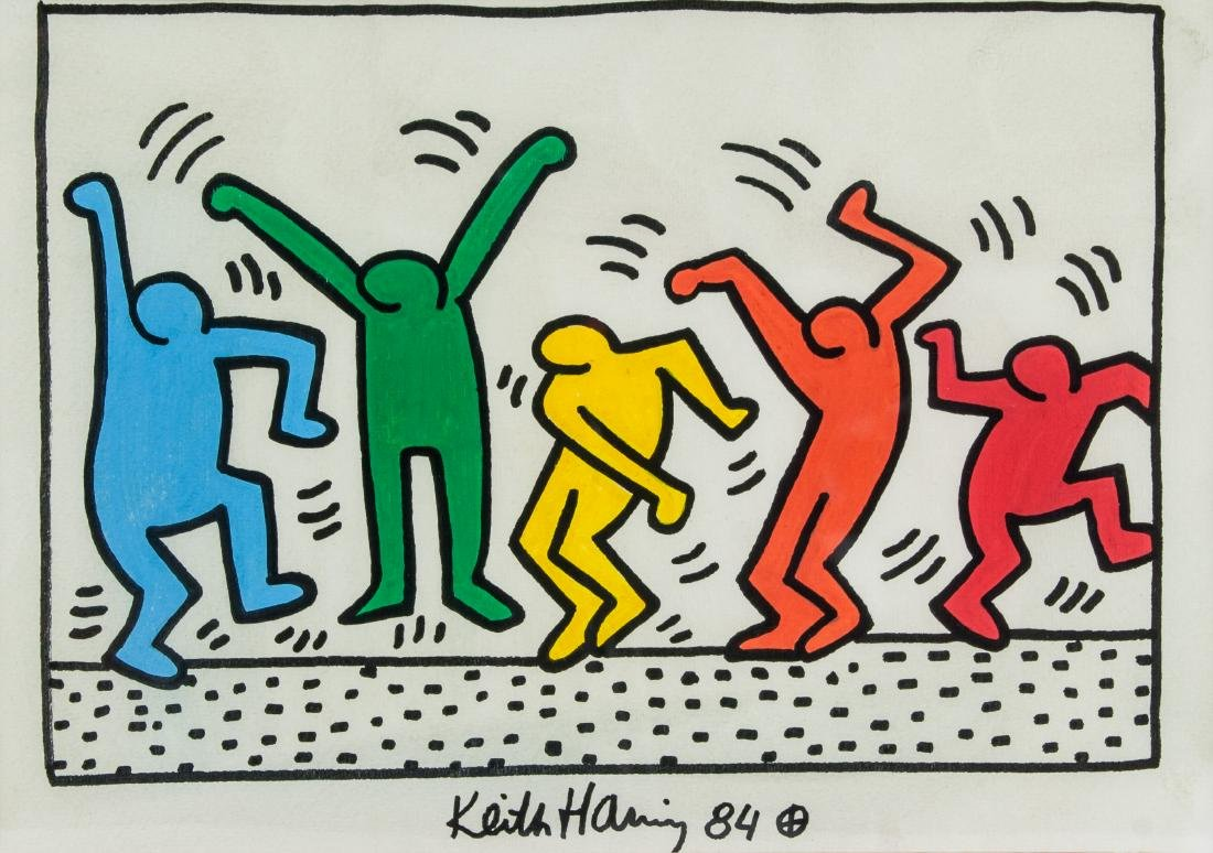 KEITH HARING American 1958-1990 Mixed Media