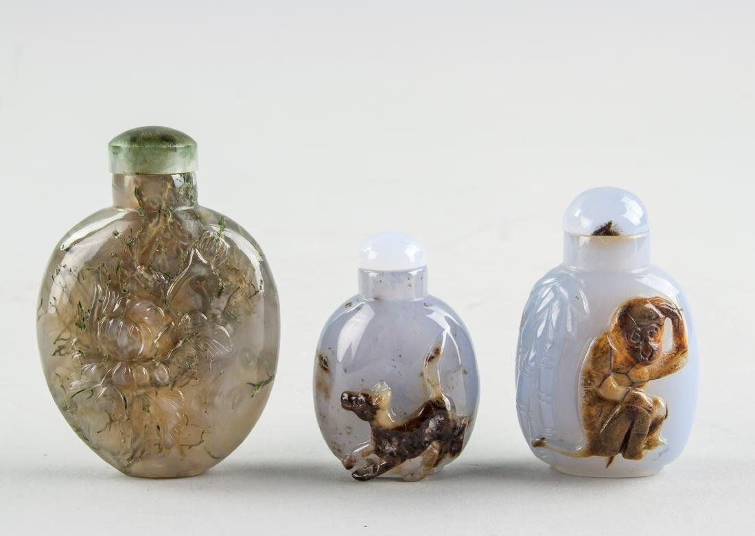 3 Assorted Chinese Qing Dynasty Agate Snuff Bottle