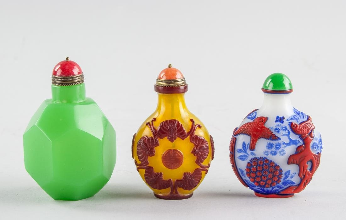 3 Assorted Chinese Peking Glass Snuff Bottles