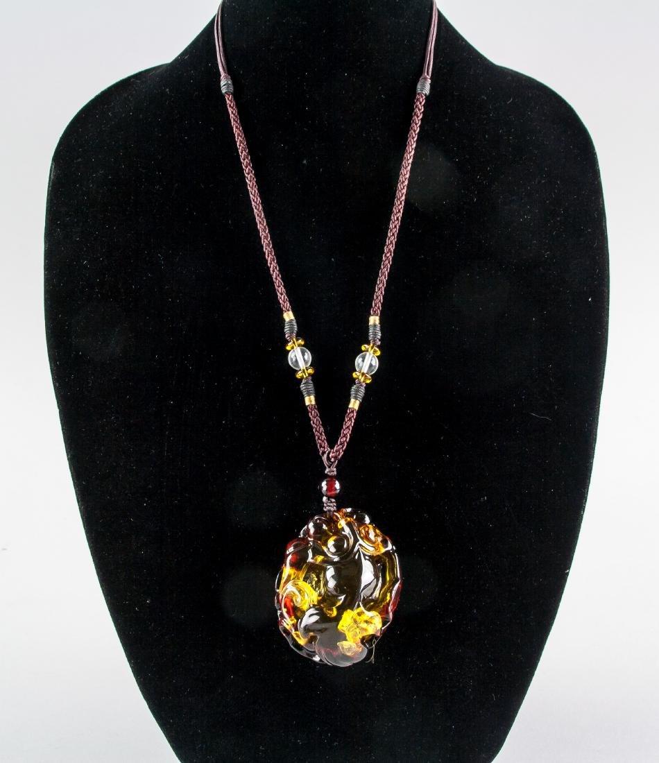 Chinese Large Amber Carved Goldfish Necklace
