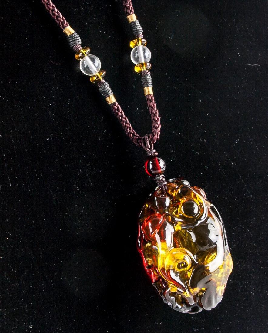 Chinese Large Amber Carved Goldfish Necklace - 3
