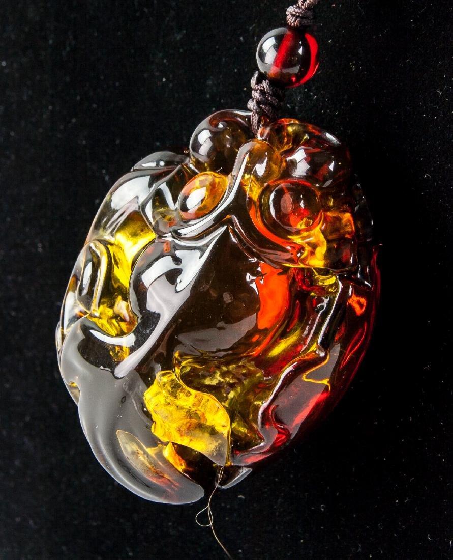 Chinese Large Amber Carved Goldfish Necklace - 4