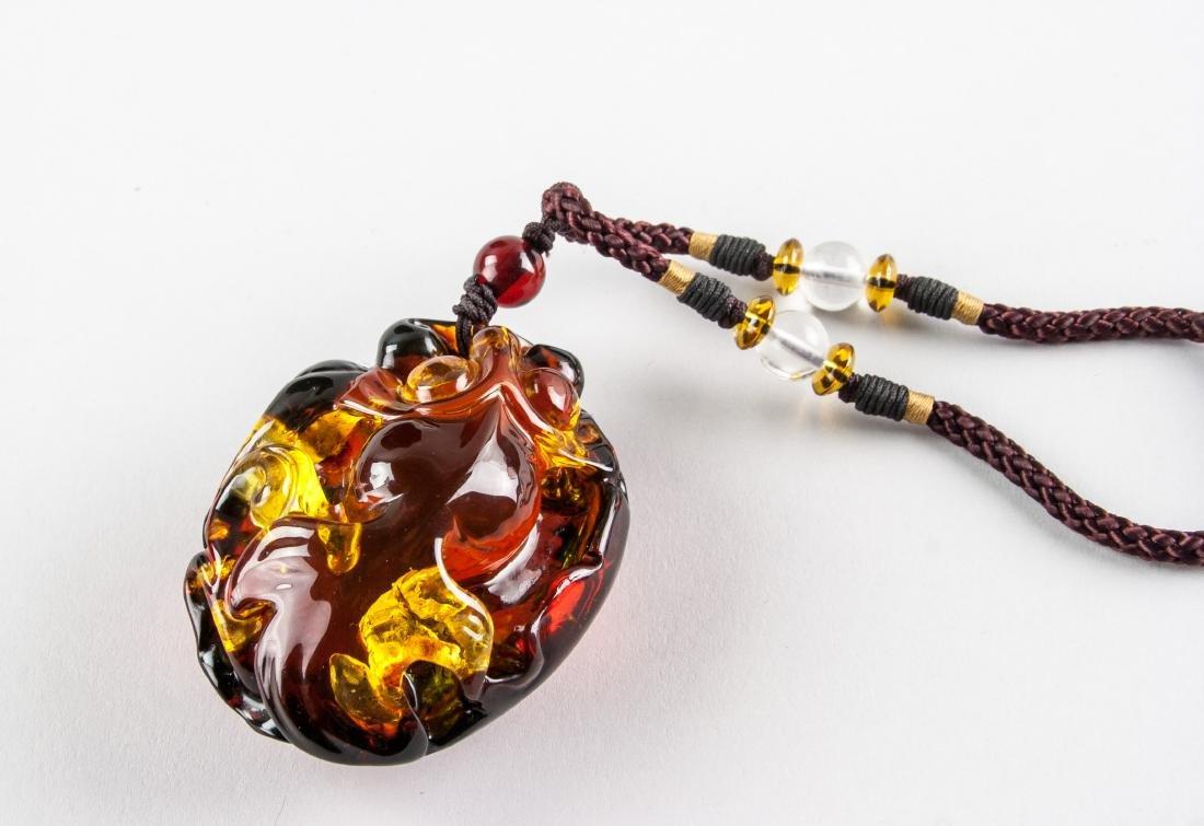 Chinese Large Amber Carved Goldfish Necklace - 5