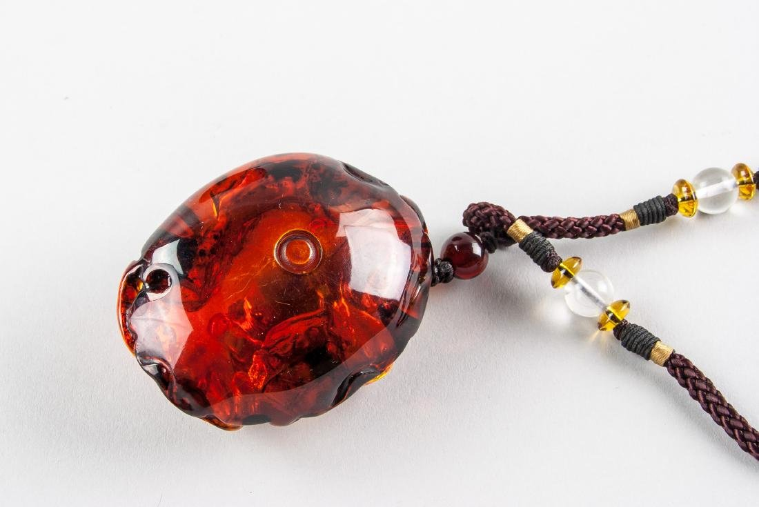 Chinese Large Amber Carved Goldfish Necklace - 6