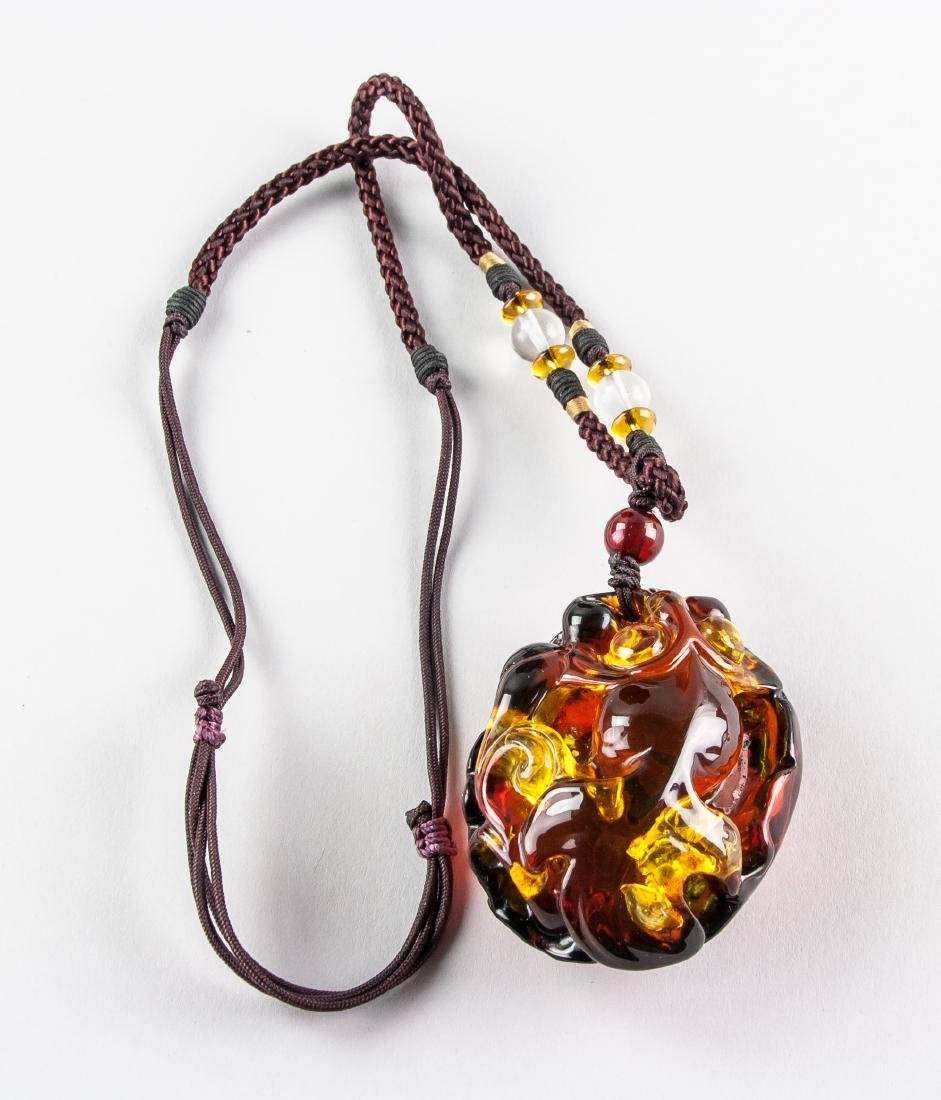 Chinese Large Amber Carved Goldfish Necklace - 7