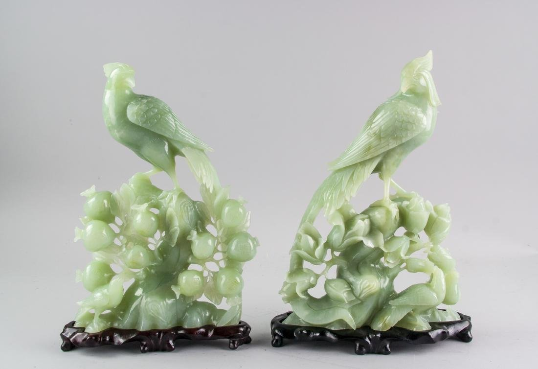 Pair Chinese Serpentine Stone Carved Pheasant
