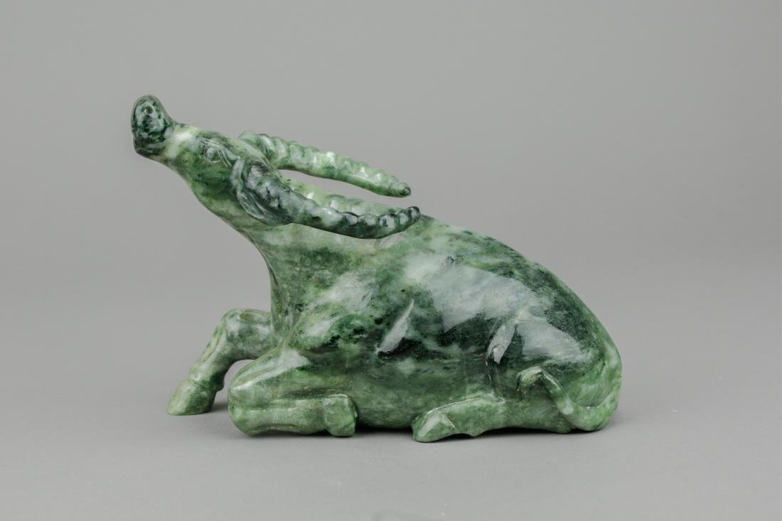 Chinese Green Jadeite Carved Water Buffalo