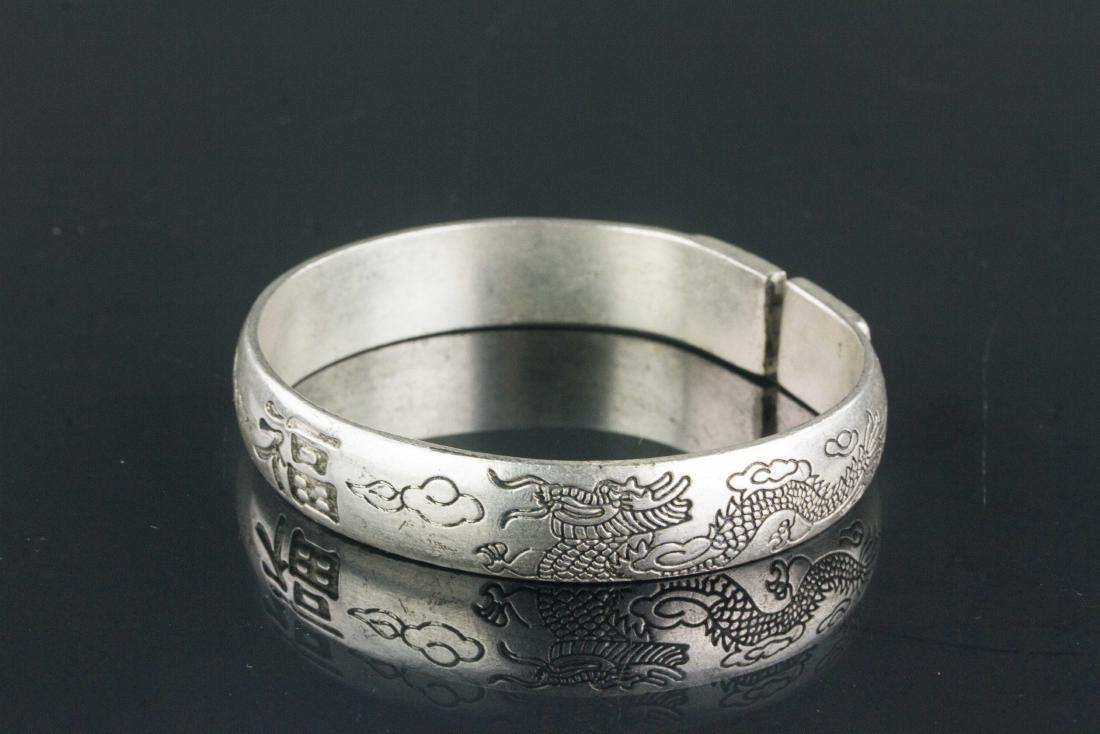 Pair of Chinese Silver Dragon Fu Shou Bracelet - 2