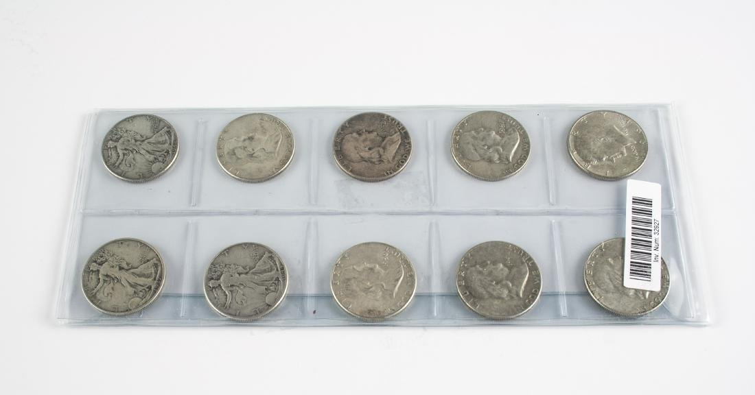 10 x Silver USA Half Dollar Coins, Mixed Dates