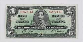 Bank of Canada 1937 One Dollar Banknote