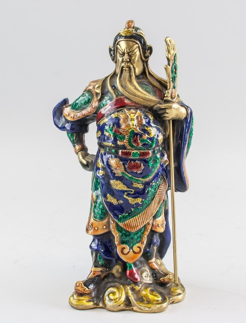 Chinese Bronze Cloisonne Guan Gong Statue Qianlong