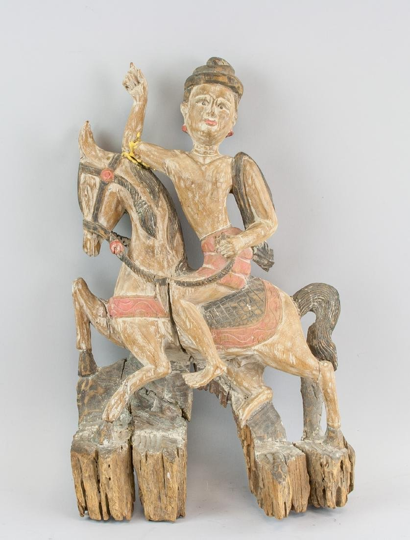 Southeast Asian Wood Carved Man Riding On Horse