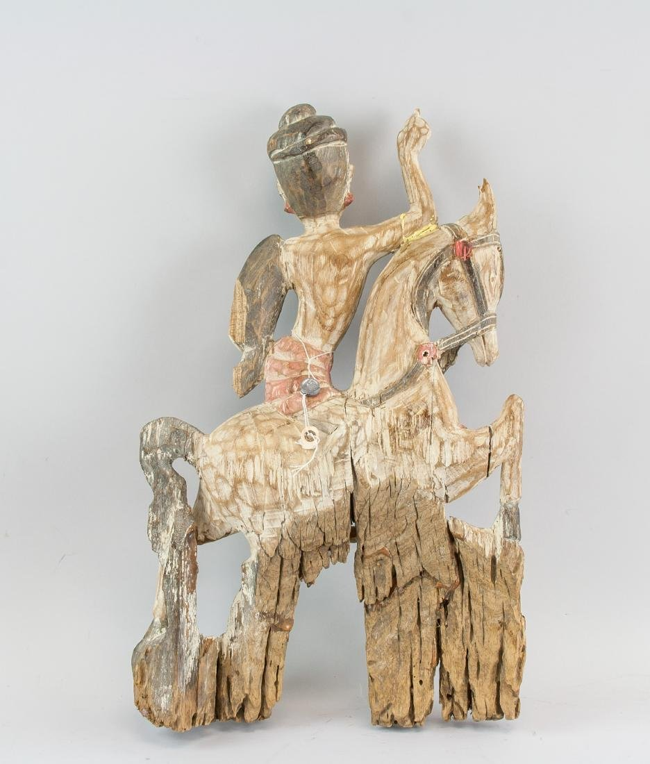 Southeast Asian Wood Carved Man Riding On Horse - 2
