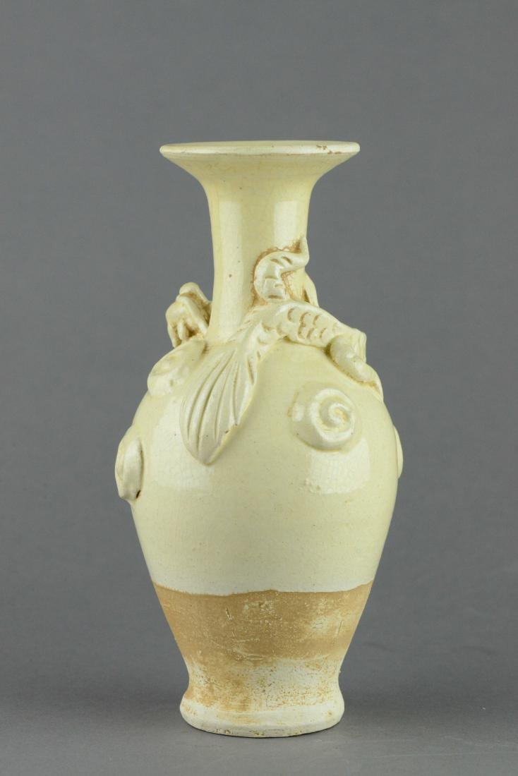 Chinese Ding Yao White Dragon Carved Vase - 2