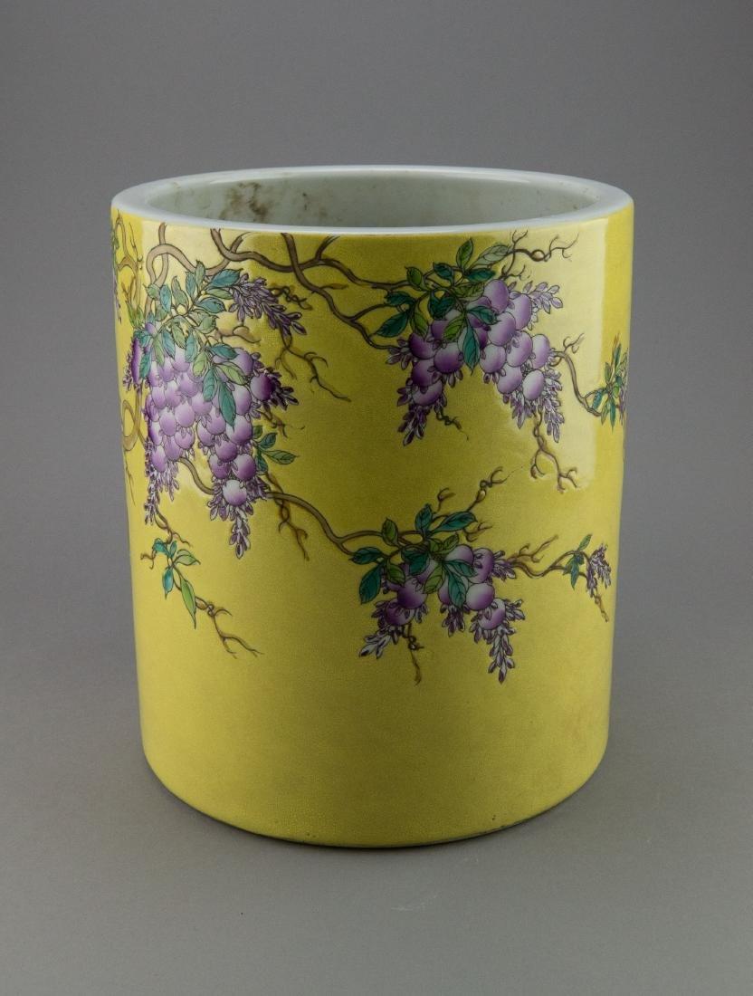 Chinese Pomegranate Dayazhai Porcelain Brushpot - 2
