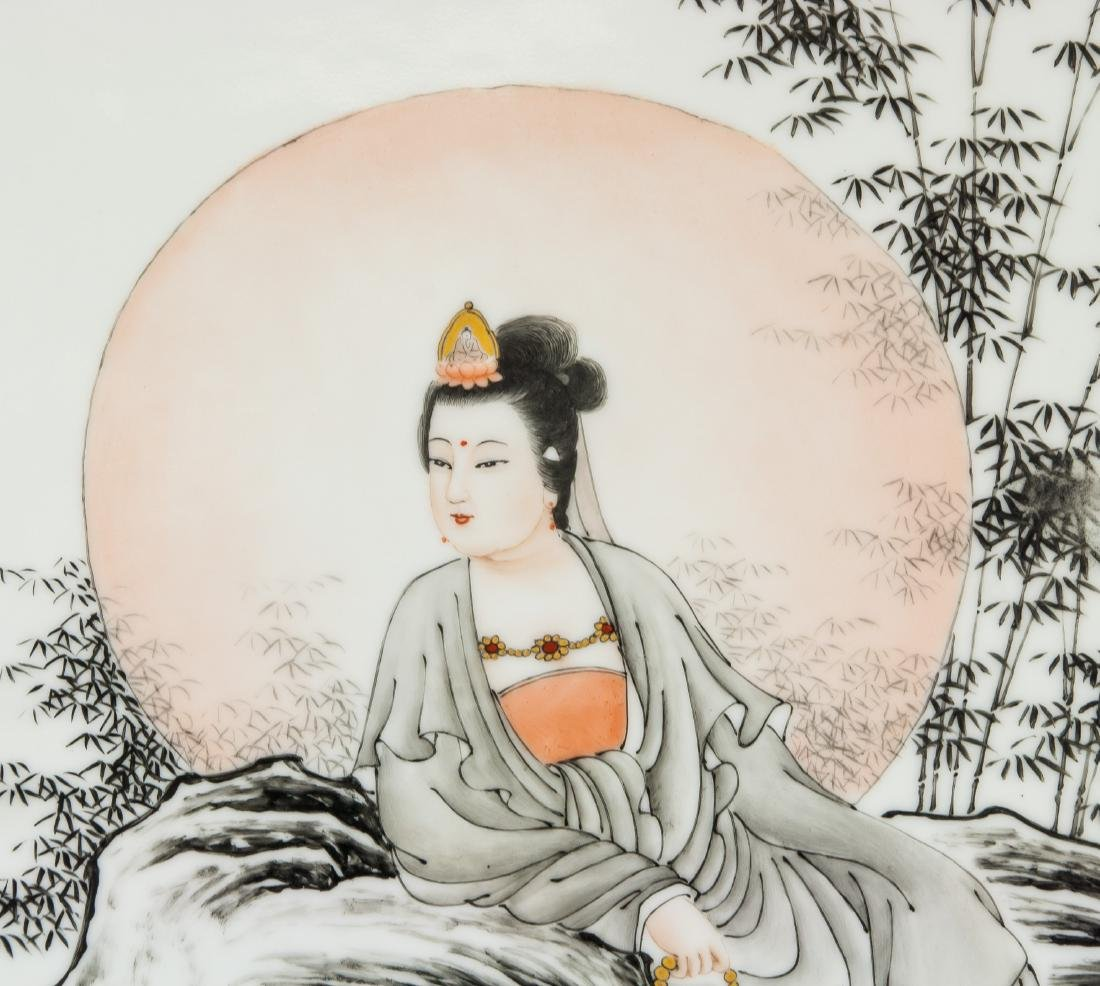 WANG DAFANG Chinese 1888-1961 Porcelain Plaque - 3