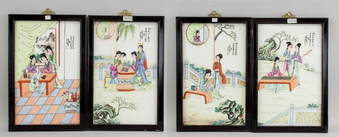 4 Chinese Porcelain Painting Plaque Signed