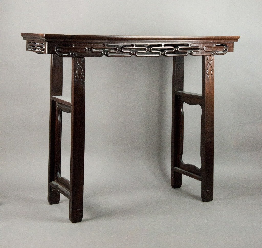 Qing Chinese Huanghuali Wood Four-leg Altar Table