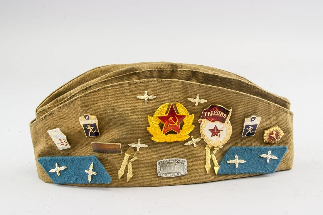 Soviet Union Side Cap with 16 Assorted Medals