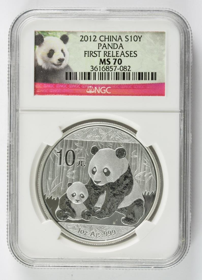 2012 Chinese 10 Dollar Panda Silver Coin NGC MS70