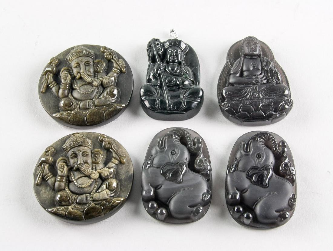 6 Assorted Obsidian Carved Pendants
