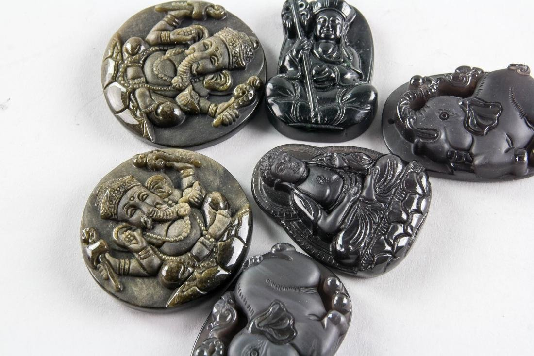 6 Assorted Obsidian Carved Pendants - 3