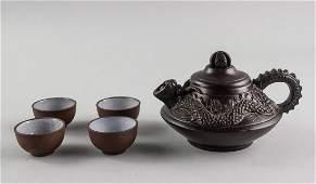 Chinese Dragon Zisha Teapot Signed Kai Xihua