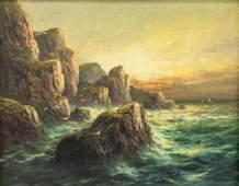FRANK HIDER British 18611933 OOC Coastal Painting