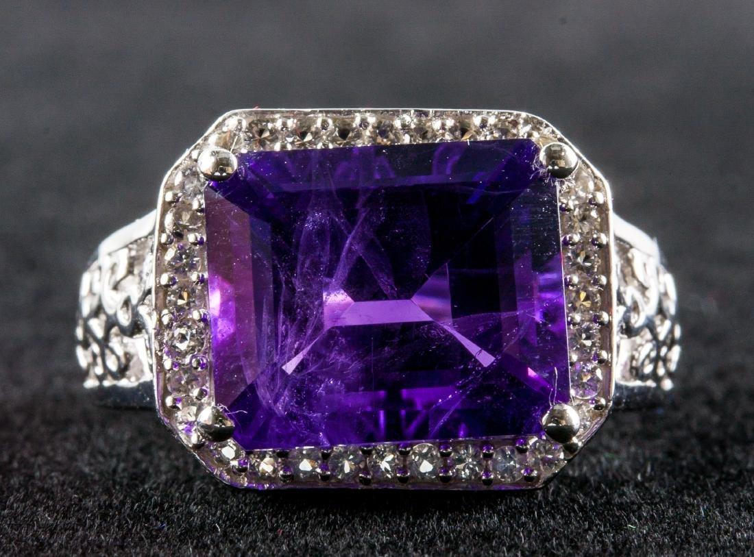 Silver and Purple Amethyst Gem Men's Ring RV $400