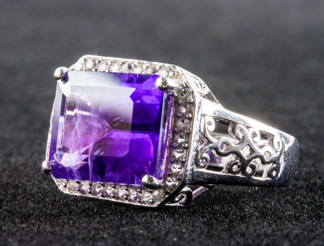 Silver and Purple Amethyst Gem Men's Ring RV $400 - 2