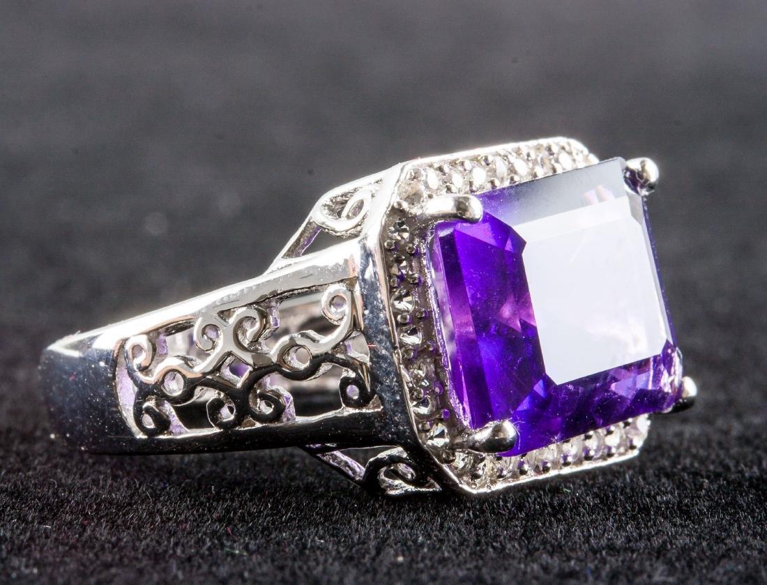 Silver and Purple Amethyst Gem Men's Ring RV $400 - 3