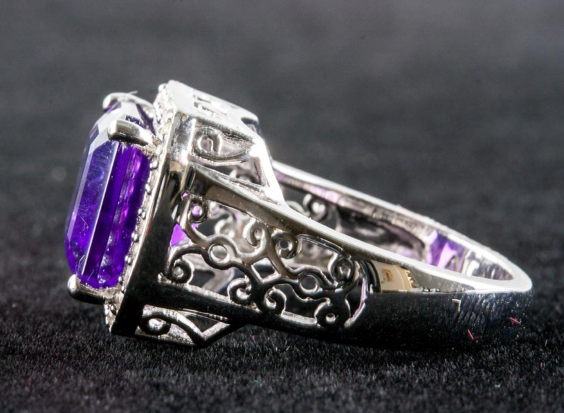 Silver and Purple Amethyst Gem Men's Ring RV $400 - 4