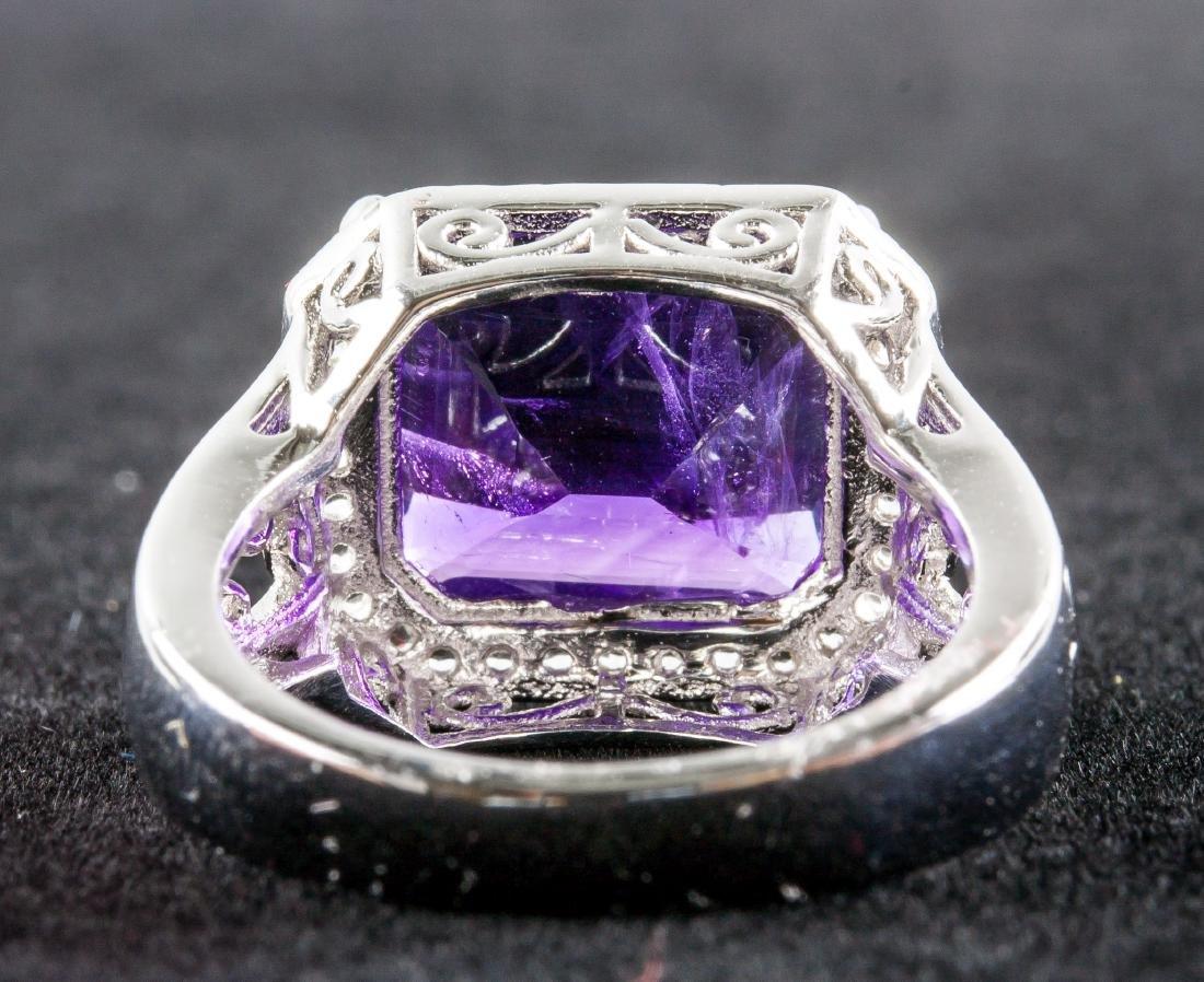 Silver and Purple Amethyst Gem Men's Ring RV $400 - 5