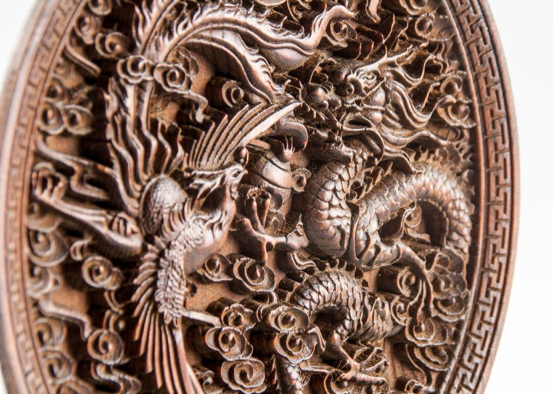 Chinese Rosewood Carved Dragon & Phoenix Tablescreen - 4