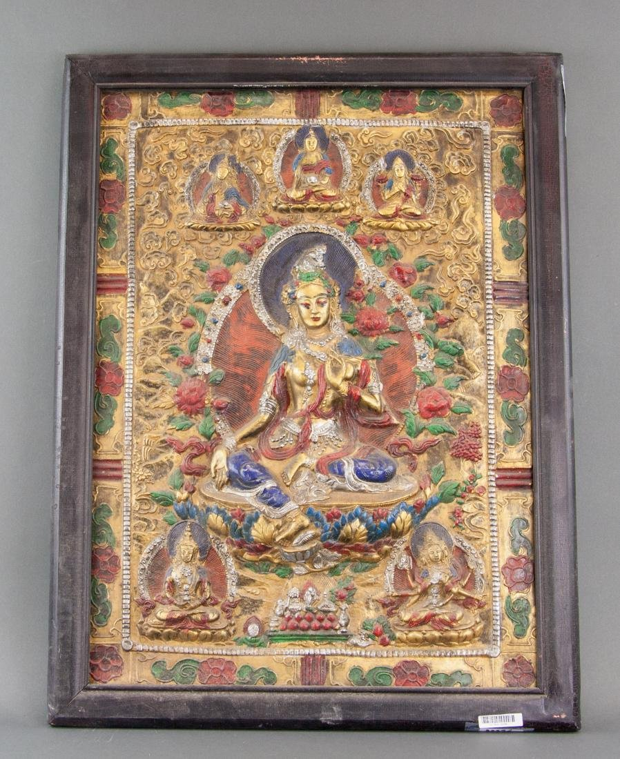 Tibetan Wood Carved Tara Panel with Frame