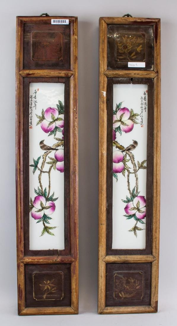 LIU YUCEN Pair China Famille Rose Porcelain Plaque