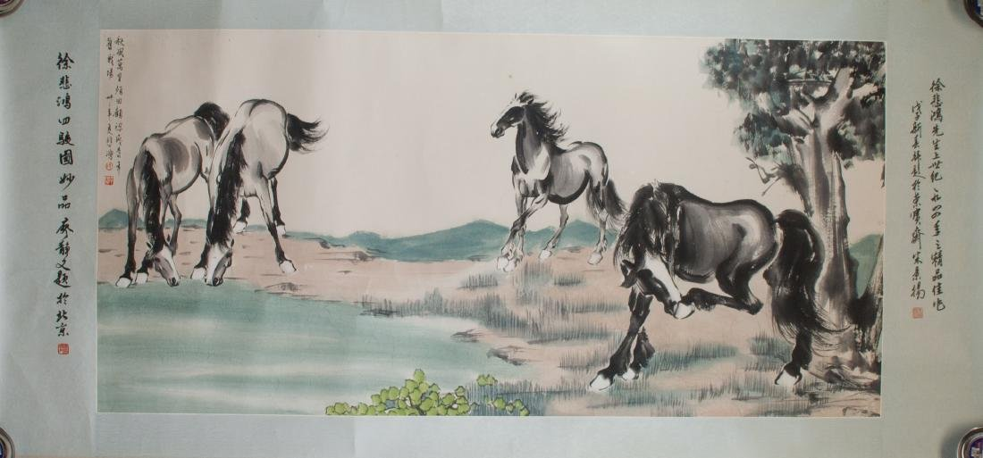 XU BEIHONG Chinese 1895-1953 Watercolor Paper Roll