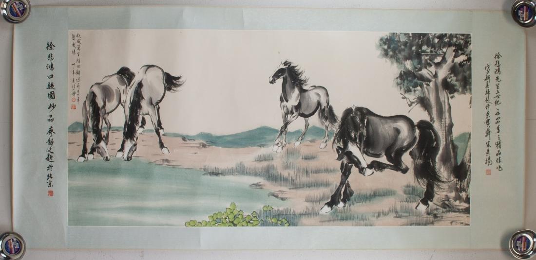 XU BEIHONG Chinese 1895-1953 Watercolor Paper Roll - 2