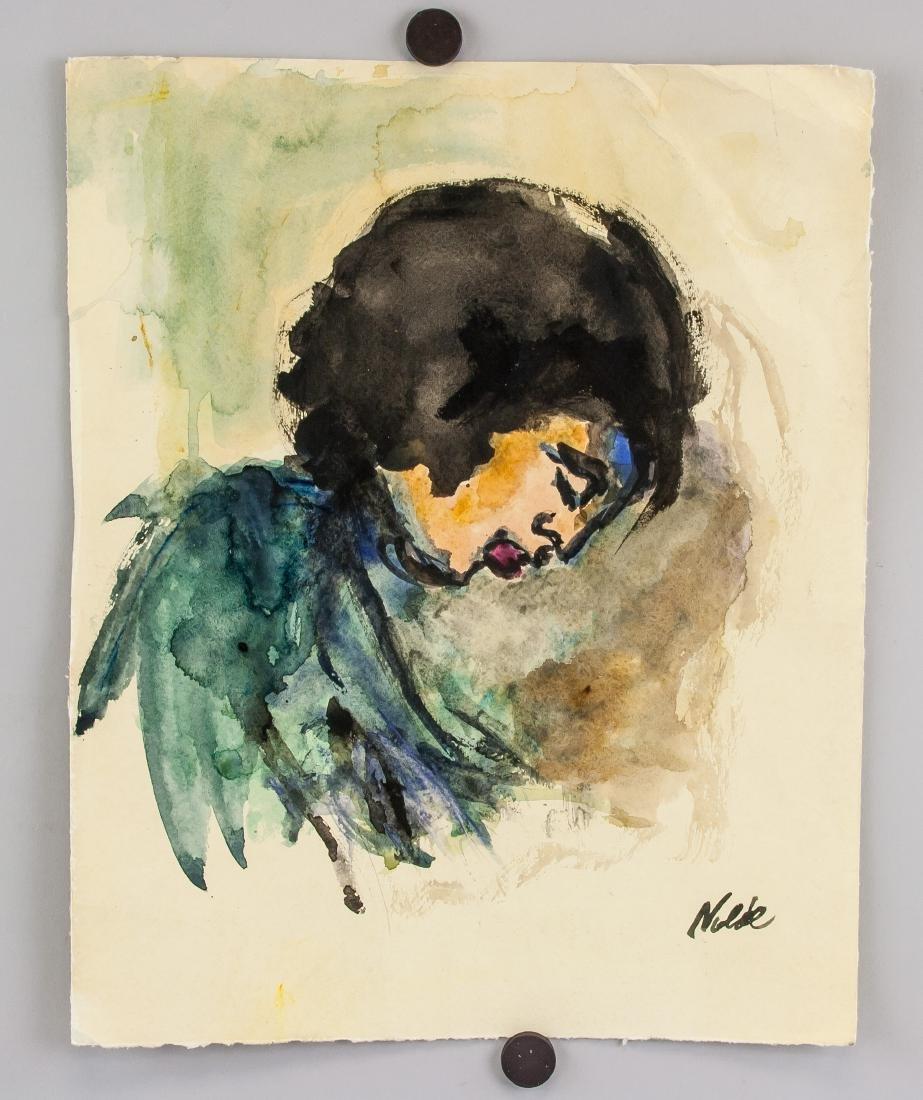 EMIL NOLDE German 1867-1956 WC on Paper - 2