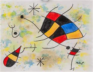 JOAN MIRO Spanish 1893-1983 Watercolor on Paper