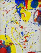 SAM FRANCIS American 1923-1994 Oil on Paper