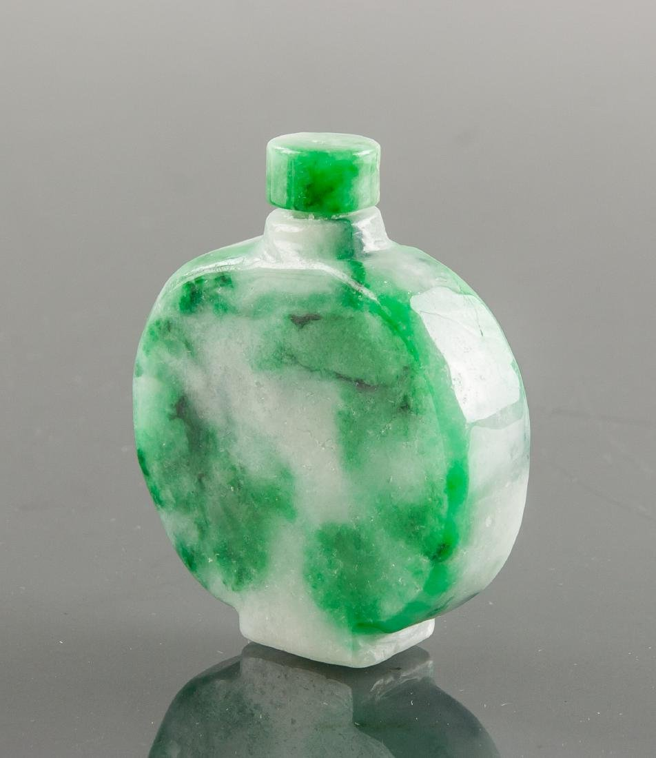 Burma Green Jadeite Carved Snuff Bottle - 3