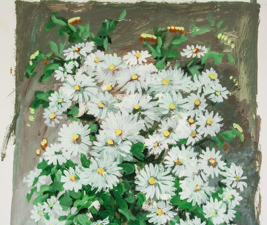 TOMARA  Artist Signed Oil on Board Flower Theme - 3