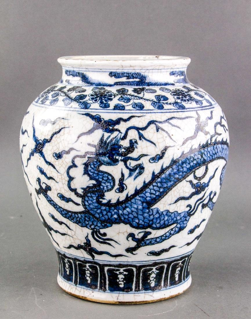 Chinese Blue and White Porcelain Dragon Jar