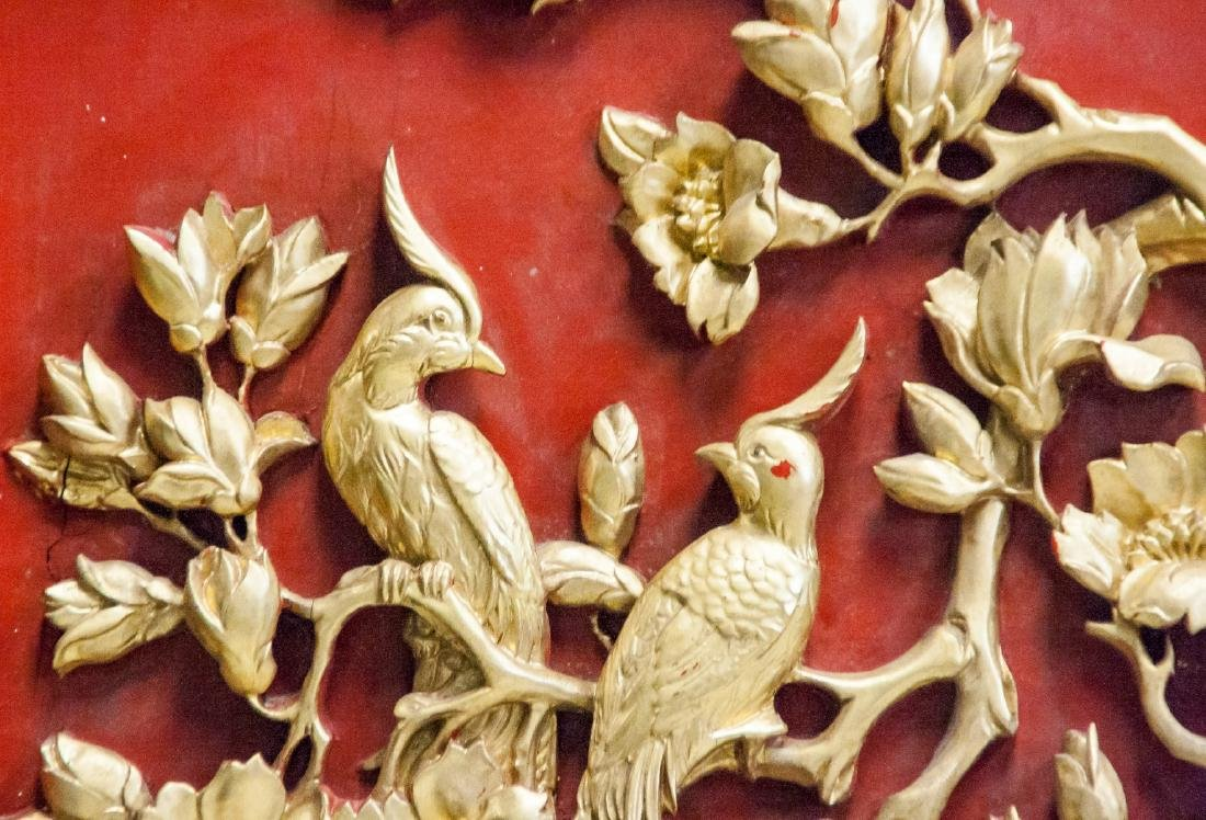 Chinese Gilt Lacquer Wood Carved Panel with Frame - 3
