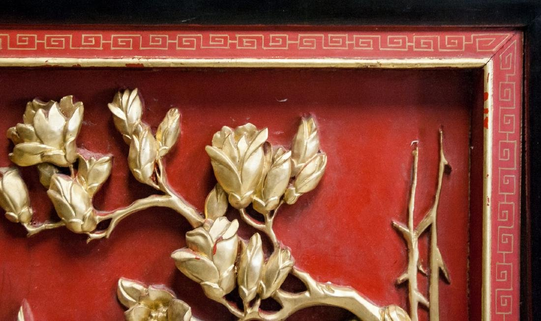 Chinese Gilt Lacquer Wood Carved Panel with Frame - 4