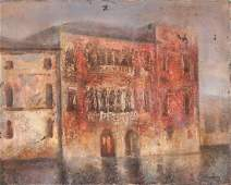 Artist Signed Hungarian Oil on Canvas Buildings