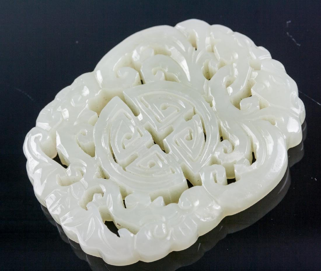 Chinese White Hardstone Carved Auspicious Pendant - 3